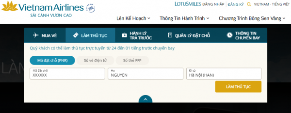 Check-in trực tuyến Vietnam Airlines
